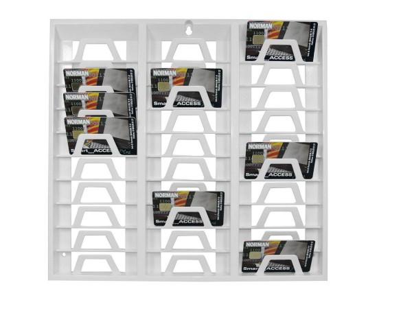 Kartenhalter / Wandhalter 30 Mitarbeiterkarten weiss - ideal für Büroräume, Werkstatt, Fitnessstudio